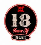 Distressed Aged 18 Years Of Rust Motif For Retro Rat Look VW etc. External Vinyl Car Sticker 100x90mm